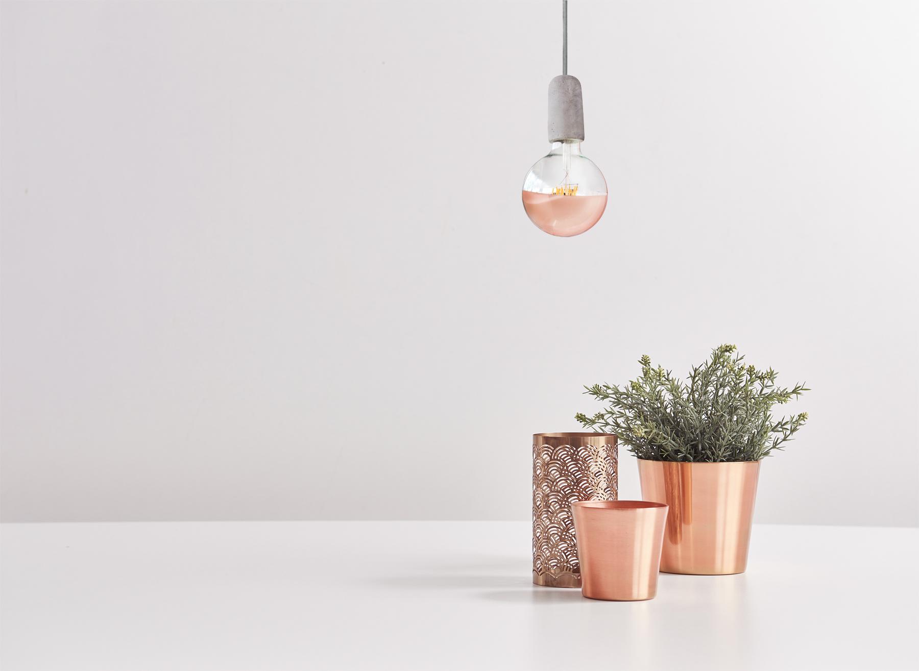 Bombilla efecto espejo cobre-oro-rosa