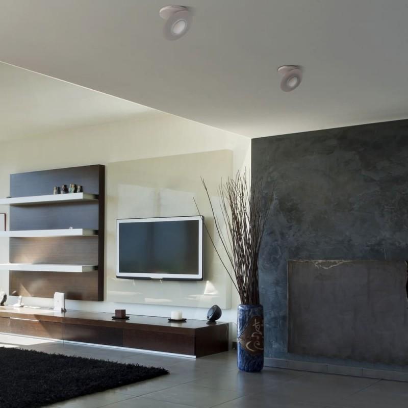 Ambiente de salón con empotrable LED Kali blanco