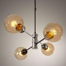Portalámparas horizon grafito 4 luces con bombillas vintage E27 encendido.