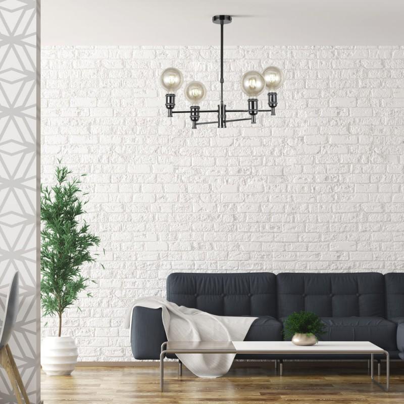 Salón con colgante Miyako grafito de 4 luces
