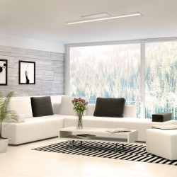 Salon con Plafón LED Wanda 72W 3000K Blanco Mate encendido luz cálida