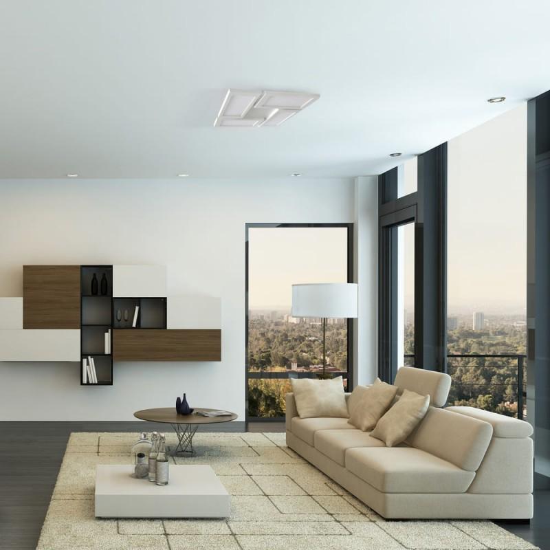 Salón moderno con PLAFON LED 60W, 3000K DIMMABLE NEW OR BLANCO