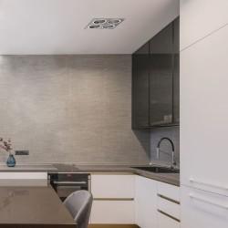Cocina con EMPOTRABLE HELIUM ALUMINIO (4 LUCES) instalado en el techo