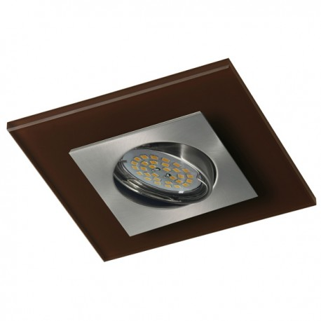 Zeta Nickel Recessed Light – Brown Glass