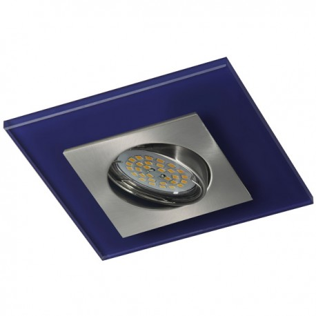 Zeta Nickel Recessed Light – Blue Glass
