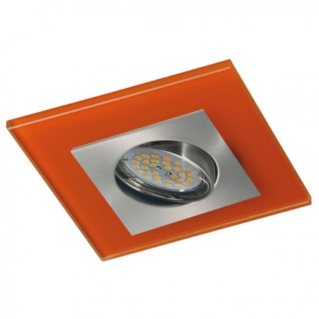 Zeta Nickel Recessed Light – Orange Glass