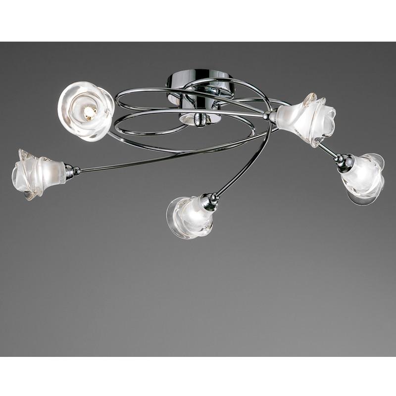 Lis 5 Arm Ceiling Light Chrome Cristalrecord Led Lighting
