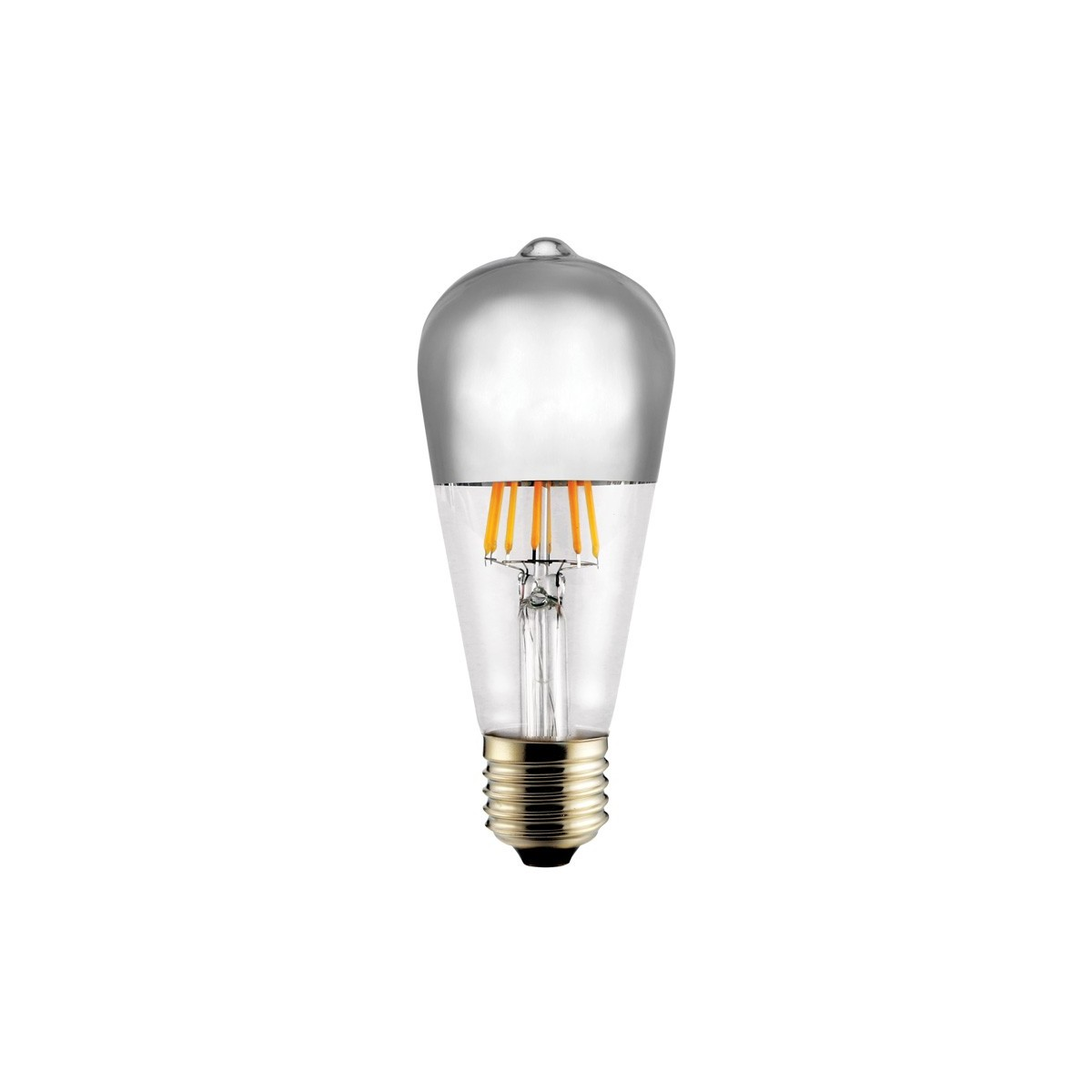 Bombilla LED E27 ST64 Half Mirror G95 plata 8w