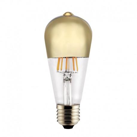 Bombilla LED E27 ST64 Half Mirror oro 6w