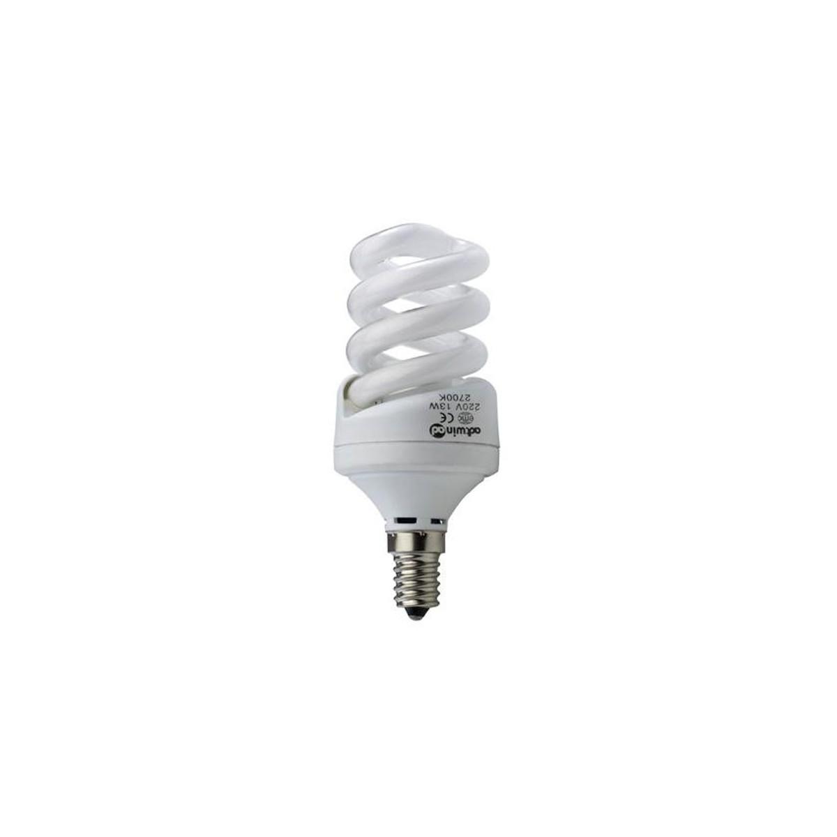 Bombilla espiral de bajo consumo E14, 13W, 4200K.