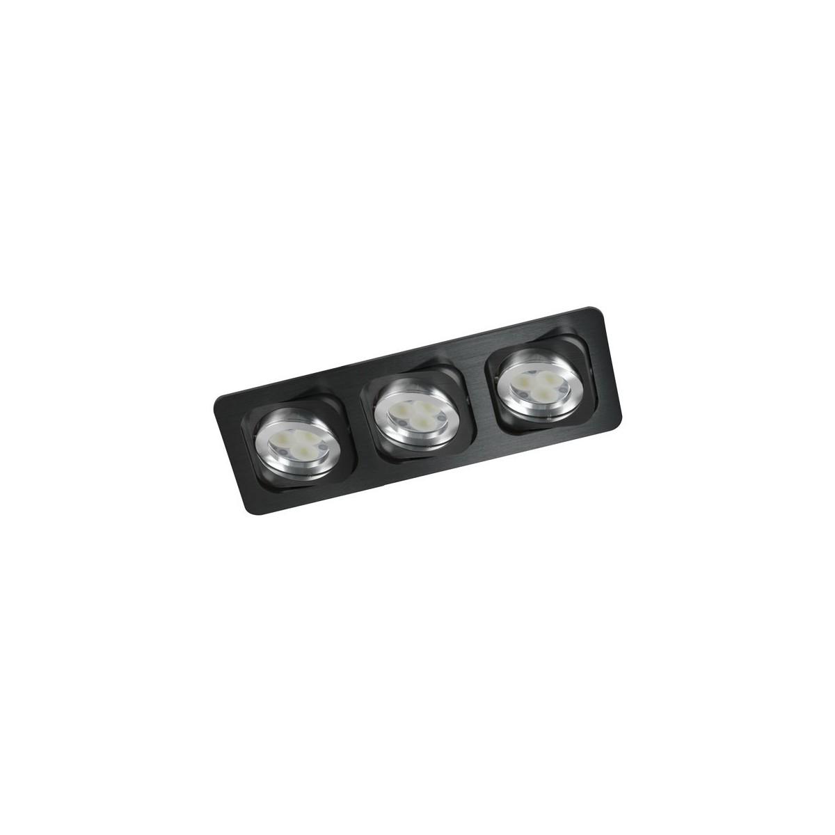 Empotrable doble basculación Double negro tres luces.