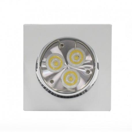 Empotrable LED GU10 6W cuadrado basculante blanco