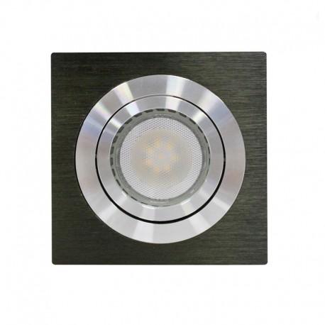 Empotrable LED GU10 7W cuadrado basculante negro