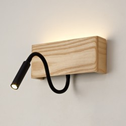 APLIQUE LED DE MADERA RAVEL 5W+3W CON USB