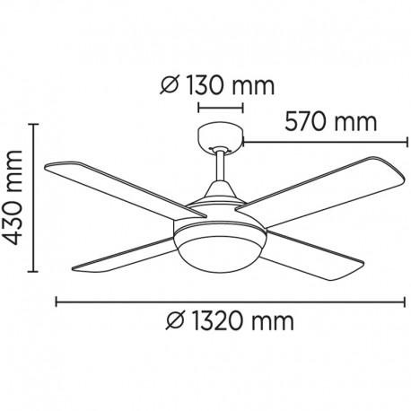 Ventilador con luz Millar CristalRecord Lamparas.es
