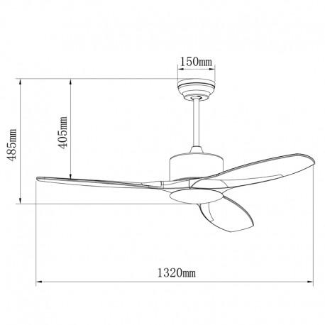 Ventilador LED 3 palas 132cm - Yarta niquel