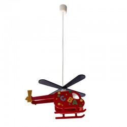 Red Alfa Helicopter Pendant Light Nursery