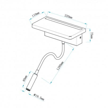Aplique LED de madera Bach 5W+3W con USB