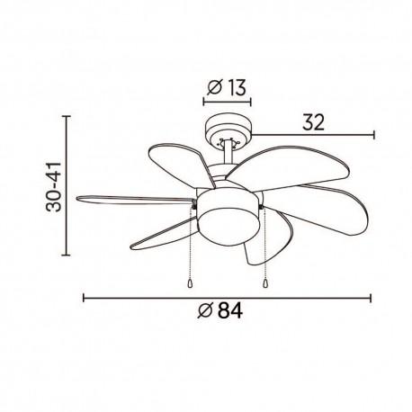 Ventilador 6 palas 76cm -  Tabit madera