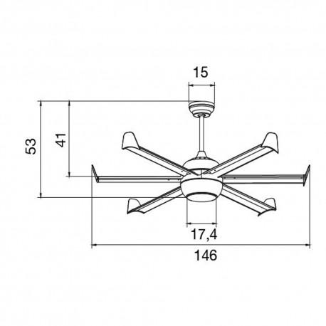 Ventilador LED 6 palas 152cm - Zentro niquel