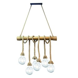 BAMBOO PENDANT CEILING LAMP WITH 6 LIGHTS