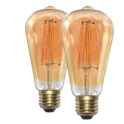 Pack x2 ST64 E27 6W LED Bulb 2700K