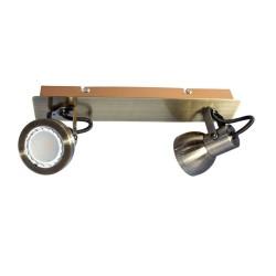 Heli Antique Brass 2-Light GU10 Spotlight