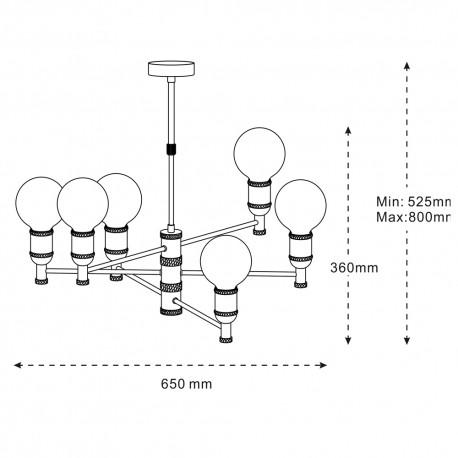 Colgante MIYAKO grafito 6 luces