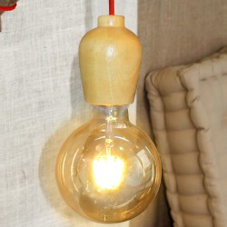 Wood Pendant Lamp Red Cable