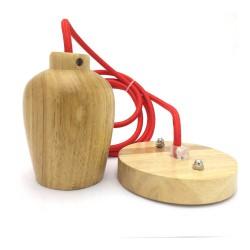 Portalámparas madera con cable rojo