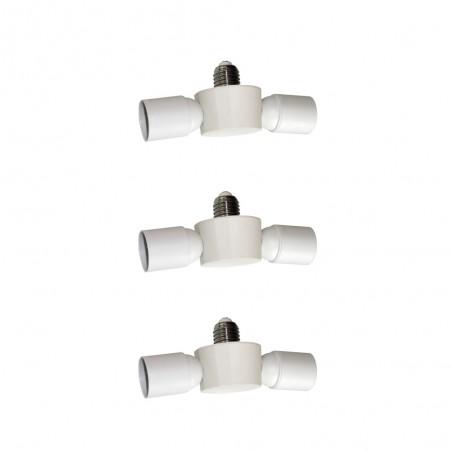 Pack of 3 Socket Splitters 2XE27 White