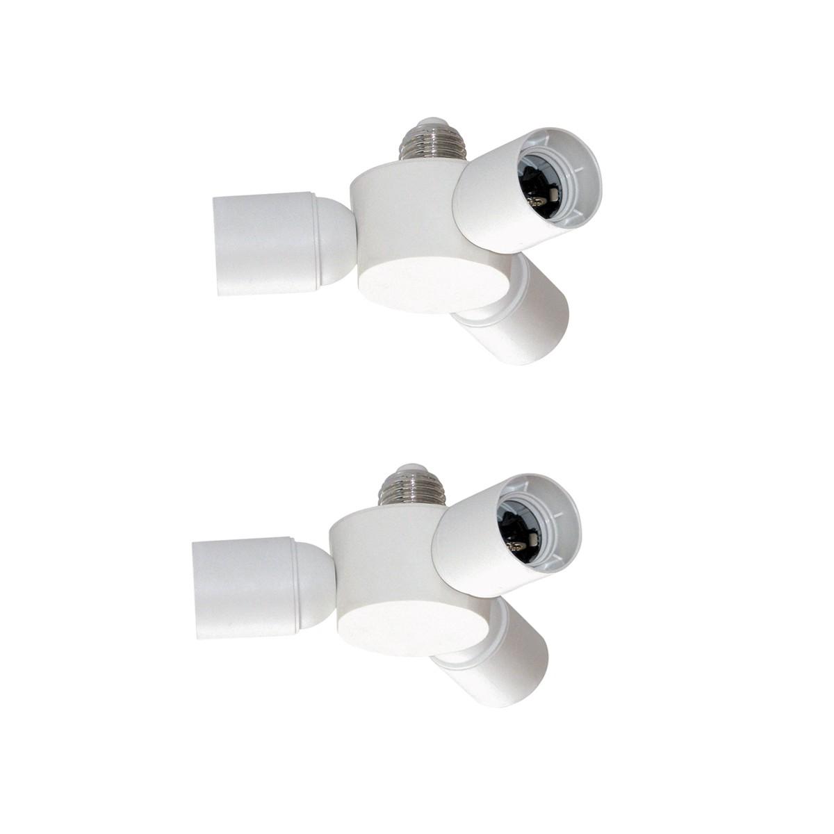Pack of 2 Socket Splitters 3XE27 White