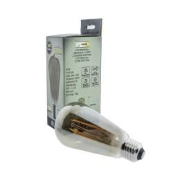 Bombilla LED ST64 8W 4000K fumé al lado de su caja