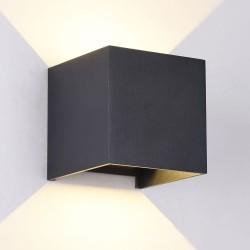 Foto encendida Aplique IP54 Cube led 2x5W 3000K antracita