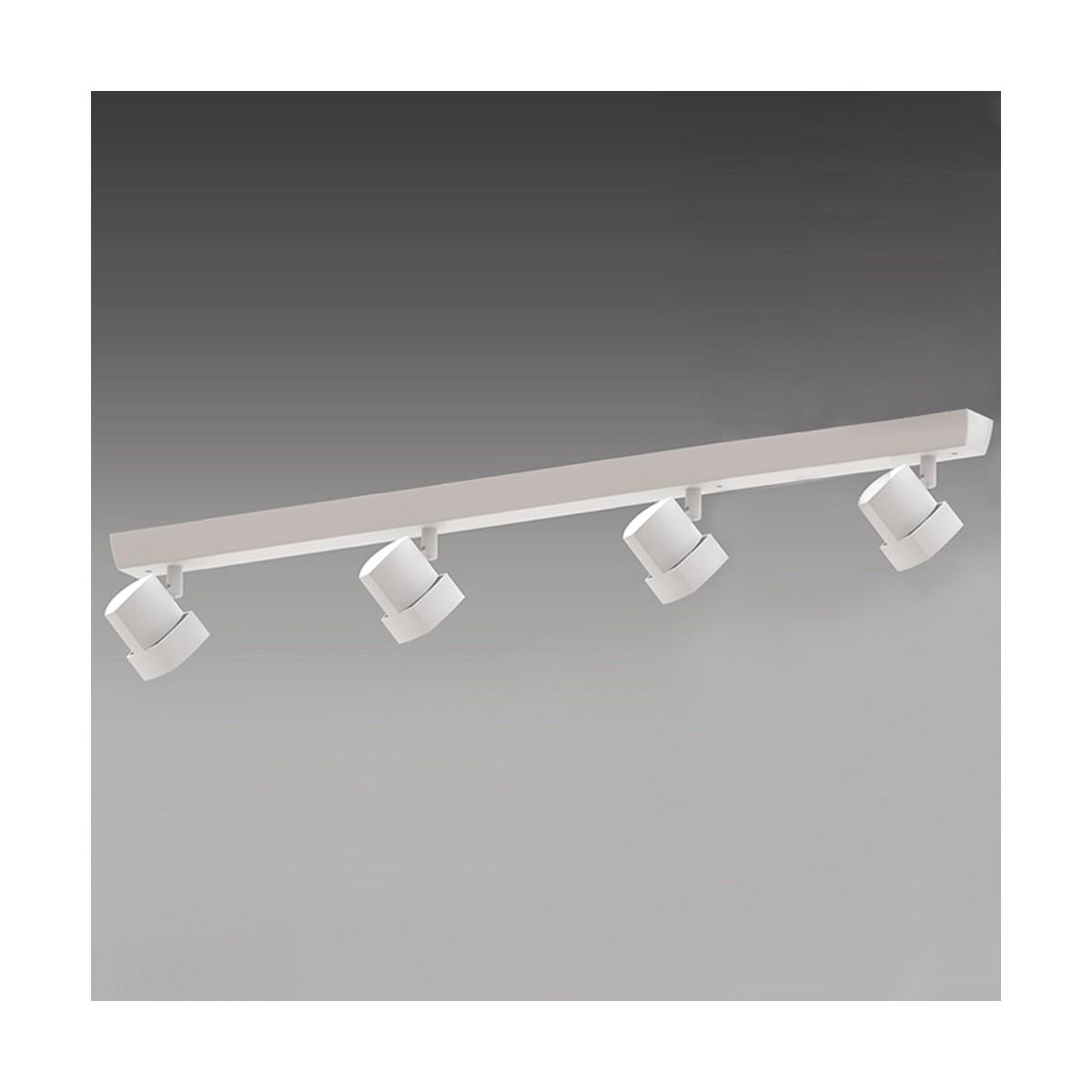 Regleta de techo de 4 luces Moka blanco mate
